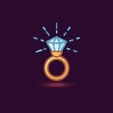 Vector l'icona in anello di oro del gioielliere di linework di stile con il diamante su fondo scuro illustrazione di stock