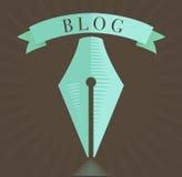 Vector l'icona della penna stilografica, simbolo del blog nello stile inciso Fotografia Stock Libera da Diritti