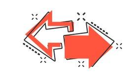 Vector l'icona destra e sinistra della freccia del fumetto nello stile comico forward illustrazione vettoriale
