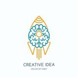 Vector l'icona di logo con cervello umano ed il razzo lanciato Linea Art Style Illustration illustrazione vettoriale