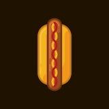 Vector l'icona di un hot dog su un fondo scuro Hot dog delizioso degli alimenti a rapida preparazione dell'illustrazione royalty illustrazione gratis