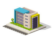 Vector l'icona isometrica o l'elemento infographic che rappresenta la poli costruzione bassa dell'ospedale Fotografie Stock Libere da Diritti