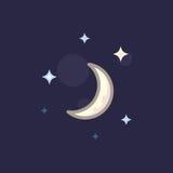 Vector l'icona in luna e stella di linework di stile su fondo scuro Fotografia Stock Libera da Diritti