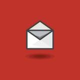 Vector l'icona nel messaggio di linework di stile nella busta della lettera aperta su fondo rosso Immagini Stock