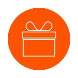 Vector l'icona rotonda monocromatica in una scatola con un arco, stile piano del regalo Fotografia Stock