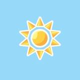 Vector l'icona in sole di linework di stile sul fondo del cielo blu Fotografie Stock Libere da Diritti