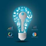Vector l'idea chiave con le icone ed il grafico di affari Immagini Stock