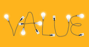 Vector l'idea creativa della lampadina con il concetto del valore Fotografia Stock Libera da Diritti