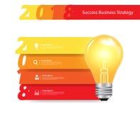 Vector l'idea creativa della lampadina con un'insegna da 2018 nuovi anni Fotografia Stock