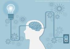 Vector l'idea di affari di concetto di lampo di genio, l'innovazione e la soluzione creative, progettazione piana di progettazion Fotografia Stock Libera da Diritti