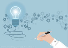 Vector l'idea di affari di concetto di lampo di genio, l'innovazione e la soluzione creative, progettazione piana di progettazion Fotografia Stock