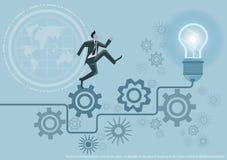 Vector l'idea di affari di concetto di lampo di genio, l'innovazione e la soluzione creative, progettazione piana di progettazion Fotografie Stock