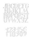 Vector l'illustrazione in bianco e nero con la sequenza leggera dell'alfabeto inglese dalla a alla z e cifre da 0 a 9 e segni di  Immagine Stock Libera da Diritti