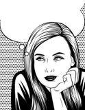 Vector l'illustrazione in bianco e nero della donna che pensa e che cerca sopra il fondo del modello di punto Fotografia Stock