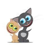 Vector l'illustrazione che descrive il gatto dello zenzero ed il gatto nero illustrazione di stock