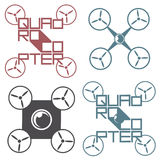 Vector l'illustrazione che descrive il logo sotto forma di quadro-elicottero Immagini Stock