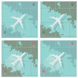 Vector l'illustrazione che descrive quattro immagini che consistono di un aeroplano royalty illustrazione gratis