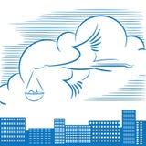 Vector l'illustrazione che descrive una cicogna di volo con un bambino sopra la città illustrazione di stock
