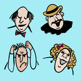 Vector l'illustrazione comica delle emozioni della gente Fotografia Stock Libera da Diritti