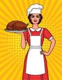 Vector l'illustrazione comica variopinta di stile di arte di una donna graziosa in un cappello del ` s del cuoco con un piatto di illustrazione di stock