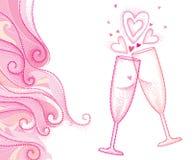 Vector l'illustrazione con due vetro, cuore e turbinii punteggiati del champagne della tostatura nel rosa isolati su fondo bianco Fotografia Stock