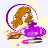 Vector l'illustrazione con gli accessori delle donne con una conchiglia royalty illustrazione gratis