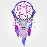 Vector l'illustrazione con i cervi ed il collettore di sogno dell'acquerello Illustrazione Vettoriale