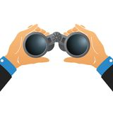Vector l'illustrazione con il binocolo in mani umane isolate su bianco illustrazione di stock