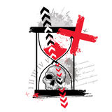 Vector l'illustrazione con il cranio punteggiato, l'incrocio, le frecce astratte, la clessidra e le macchie nel rosso e nel nero Fotografie Stock