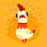 Vector l'illustrazione con il gallo sveglio bianco ed i coriandoli isolati su fondo giallo Carta di festa con personaggio dei car Immagini Stock Libere da Diritti