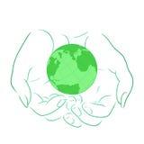 Vector l'illustrazione con il profilo delle mani femminili con il pianeta Immagini Stock
