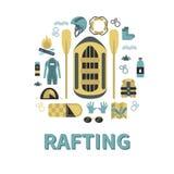 Vector l'illustrazione con il rafting e l'attrezzatura di campeggio nella progettazione piana Fotografia Stock