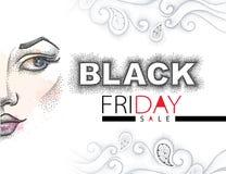 Vector l'illustrazione con il testo punteggiato di vendita di Black Friday in nero ed in rosso, i turbinii ed il fronte della rag Immagine Stock