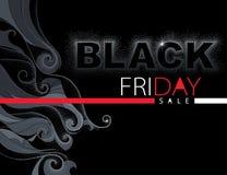 Vector l'illustrazione con l'iscrizione punteggiata di vendita di Black Friday in rosso ed in bianco sui precedenti neri con i tu Immagini Stock