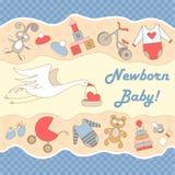 Vector l'illustrazione con la cicogna ed i simboli di neonato Fotografia Stock Libera da Diritti