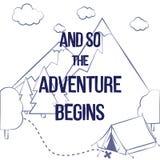 """Vector l'illustrazione con la siluetta delle montagne, gli alberi, la tenda e il """"And di frase così il  del begins†di avvent illustrazione di stock"""
