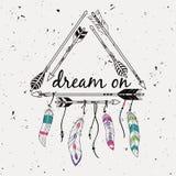 Vector l'illustrazione con la struttura tribale con le frecce e le piume etniche Fotografia Stock Libera da Diritti
