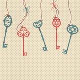 Vector l'illustrazione con le chiavi d'annata, gli archi e le perle Illustrazione di Stock