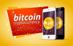 Vector l'illustrazione con lo smartphone che ha moneta dorata con l'emblema del bitcoin sul suo schermo su fondo giallo Fotografie Stock