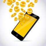 Vector l'illustrazione con lo smartphone e l'insieme della moneta dorata di caduta con l'emblema del bitcoin isolato su fondo bia Fotografia Stock Libera da Diritti