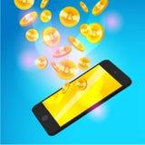 Vector l'illustrazione con lo smartphone e l'insieme della moneta dorata di caduta con l'emblema del bitcoin isolato su fondo blu Fotografia Stock