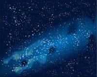 Vector l'illustrazione con spazio, cielo blu e le stelle royalty illustrazione gratis