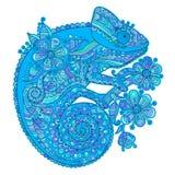 Vector l'illustrazione con un camaleonte ed i bei modelli in tonalità del blu Immagini Stock Libere da Diritti