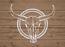 Vector l'illustrazione con un cranio selvaggio del bufalo su un fondo di legno Fotografie Stock