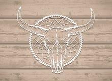Vector l'illustrazione con un cranio selvaggio del bufalo su un fondo di legno Fotografia Stock Libera da Diritti