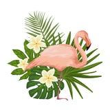 Vector l'illustrazione con un fenicottero ed i fiori tropicali royalty illustrazione gratis