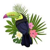 Vector l'illustrazione con un tucano ed i fiori tropicali illustrazione di stock