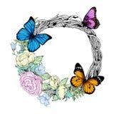 Vector l'illustrazione con una corona, i fiori e le farfalle royalty illustrazione gratis