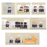 Vector l'illustrazione, consistente di 6 immagini che mostrano l'investimento di soldi illustrazione di stock