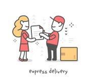 Vector l'illustrazione creativa dell'uomo felice della consegna in unifor rosso fotografia stock